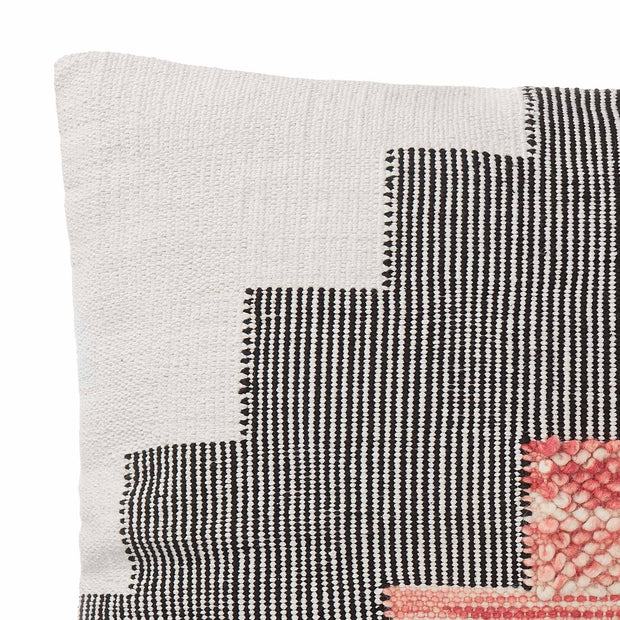 Bahadri cushion cover, natural white & black & papaya, 30% wool & 70% cotton | URBANARA cushion covers