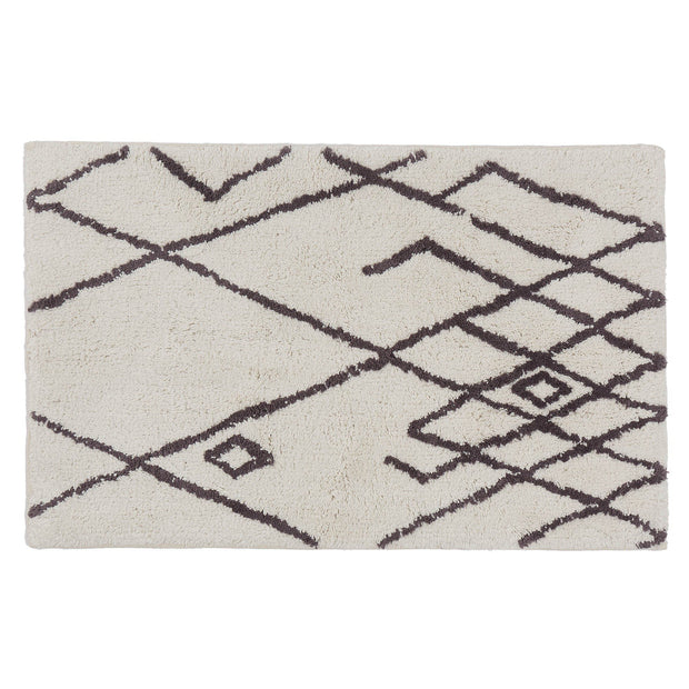 Zerdali bath mat, natural white & dark grey, 100% cotton