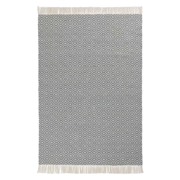 Barota rug, green grey & white, 100% pet | URBANARA outdoor accessories
