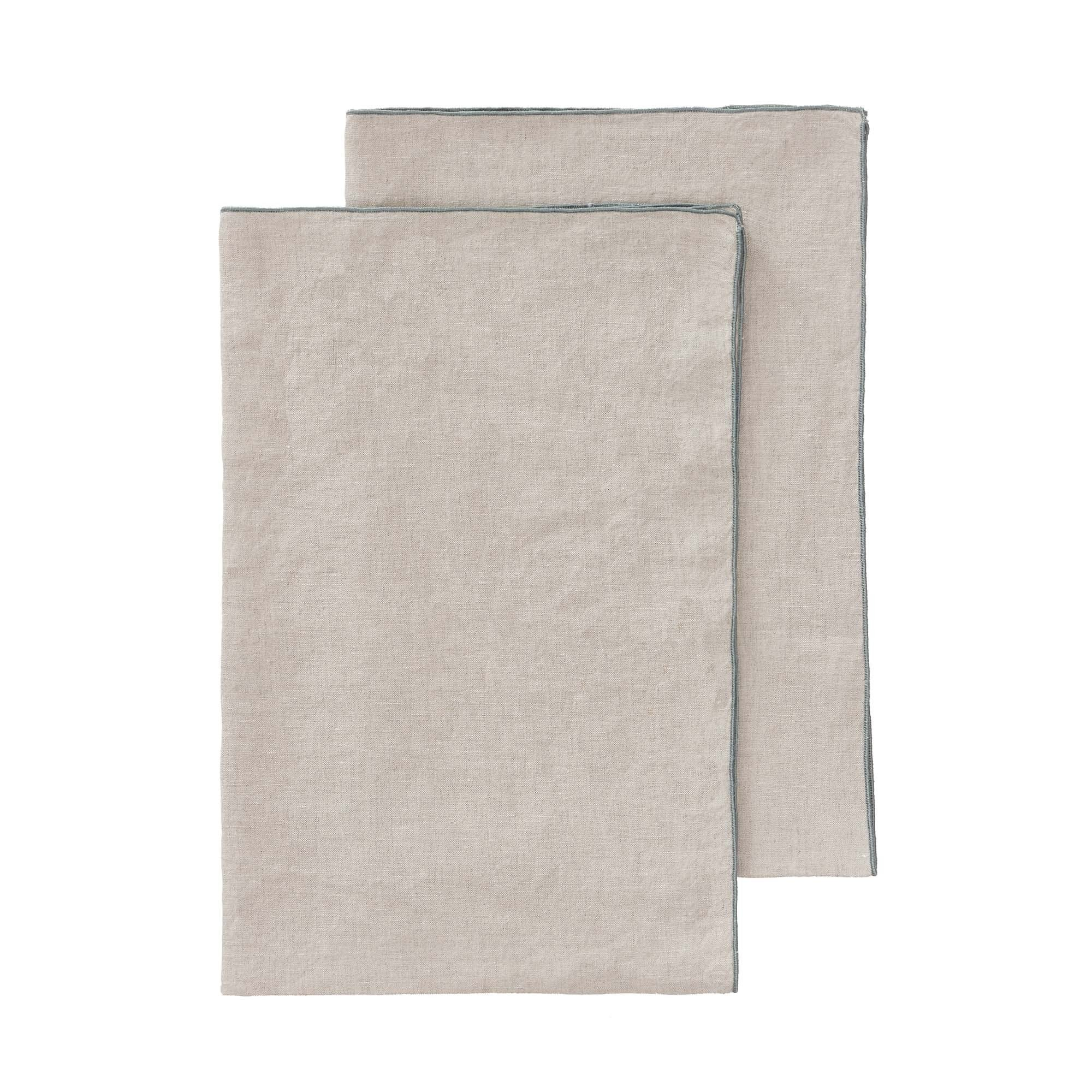 Alvalade tea towel, natural & green grey, 100% linen