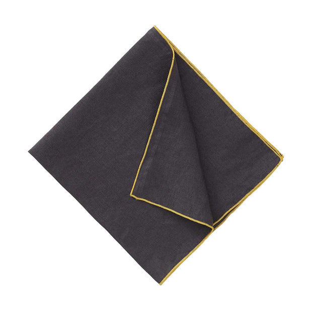 Alvalade table cloth in dark grey & bright mustard, 100% linen |Find the perfect tablecloths