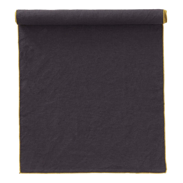 Alvalade table cloth, dark grey & bright mustard, 100% linen | URBANARA tablecloths