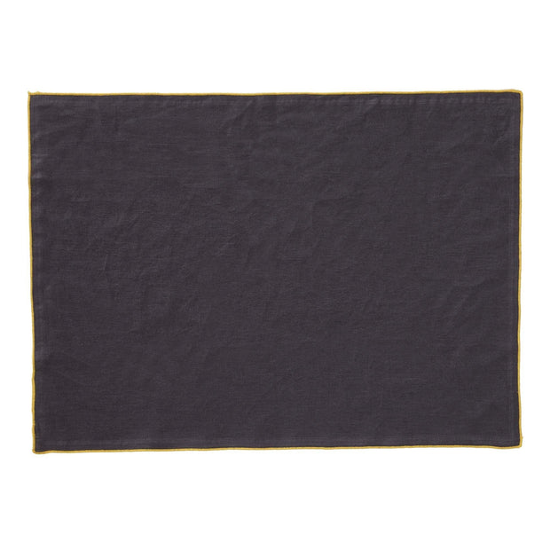 Alvalade table cloth, dark grey & bright mustard, 100% linen |High quality homewares