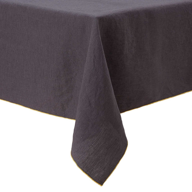 Alvalade table cloth, dark grey & bright mustard, 100% linen