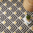 Black & Bright mustard & Natural white Caen Teppich | Home & Living inspiration | URBANARA