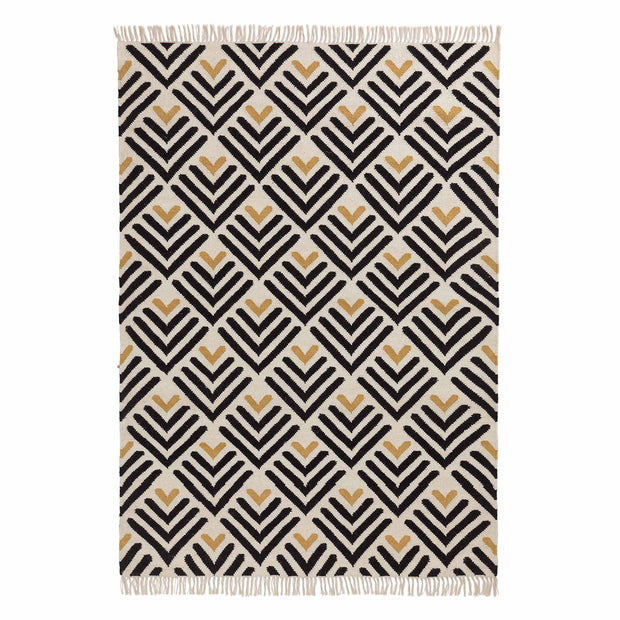 Caen rug, black & bright mustard & natural white, 90% wool & 10% cotton | URBANARA wool rugs