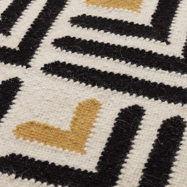 Caen rug, black & bright mustard & natural white, 90% wool & 10% cotton |High quality homewares