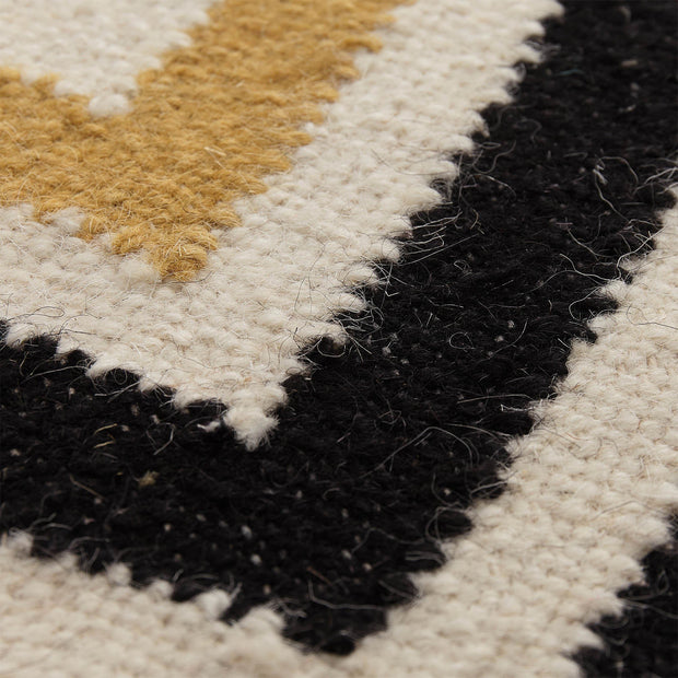 Caen runner, black & bright mustard & natural white, 90% wool & 10% cotton | URBANARA runners