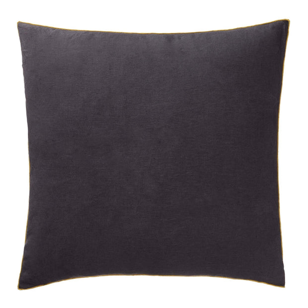 Alvalade cushion cover, dark grey & bright mustard, 100% linen