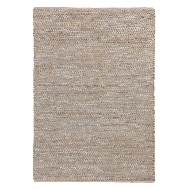 Nattika rug, white & natural, 45% leather & 45% jute & 10% cotton | URBANARA jute rugs