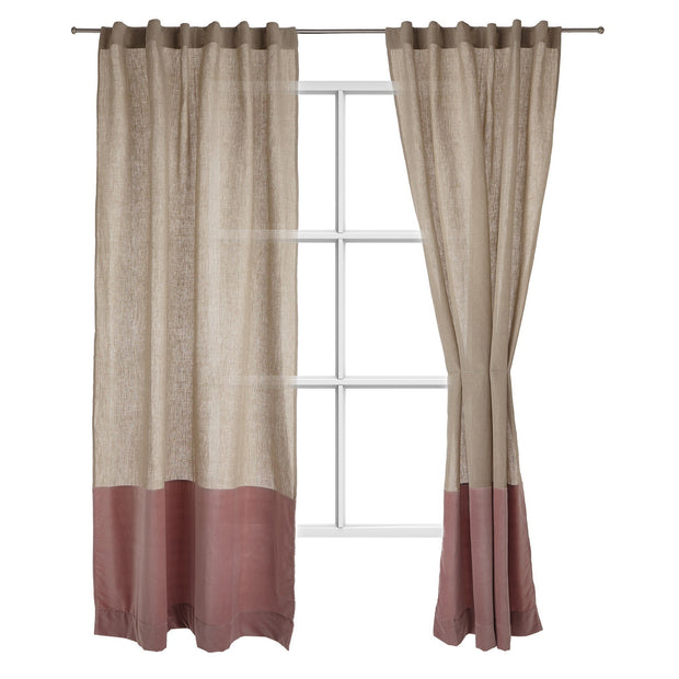Saveli curtain, natural & blush pink, 100% linen & 100% cotton