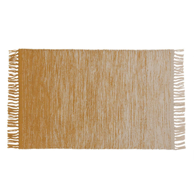 Ziller doormat, bright mustard & natural white, 100% cotton