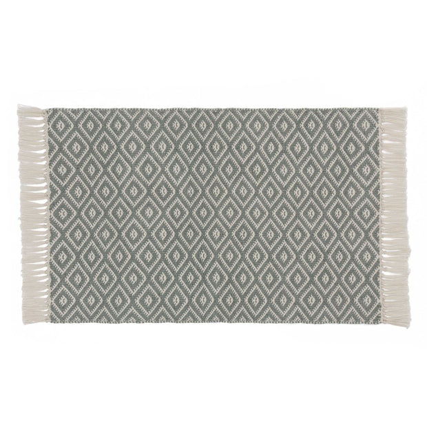 Barota doormat, green grey & white, 100% pet | URBANARA outdoor accessories