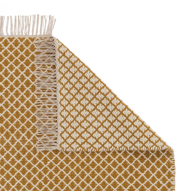 Loni rug, bright mustard & off-white, 100% wool