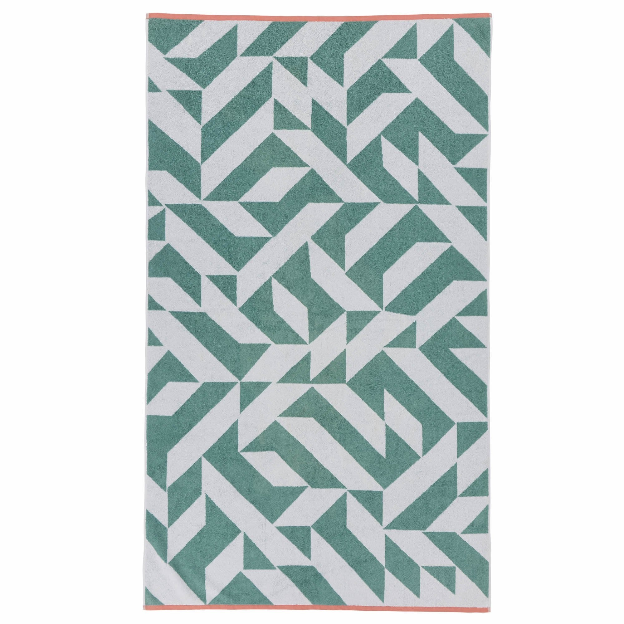 Arua beach towel, aqua & white & papaya, 100% cotton