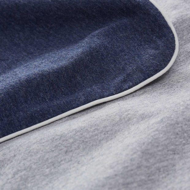 Coria pillowcase in darkblue melange & grey melange & grey, 100% cotton |Find the perfect jersey bedding