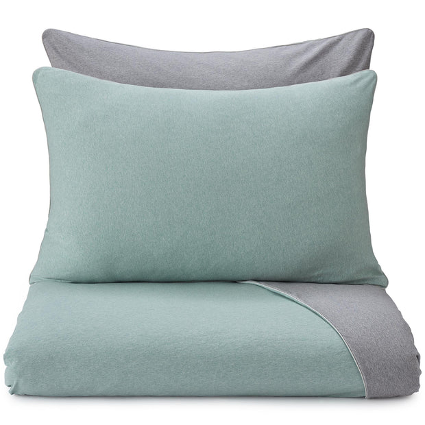 Coria pillowcase, light grey green melange & grey melange & grey, 100% cotton
