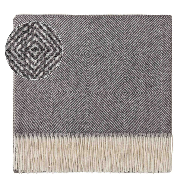 Alanga blanket, grey melange & off-white, 100% baby alpaca wool
