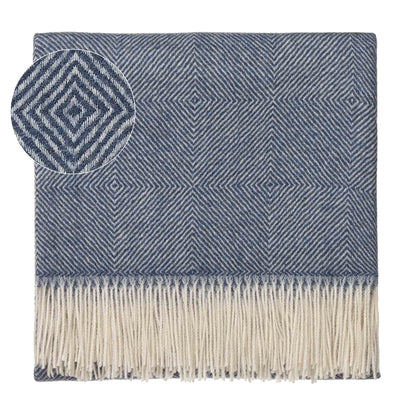 Alanga Alpaca Blanket denim blue & off-white, 100% baby alpaca wool