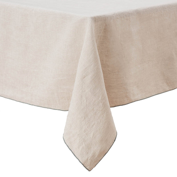 Alvalade table runner, natural & green grey, 100% linen | URBANARA table runners