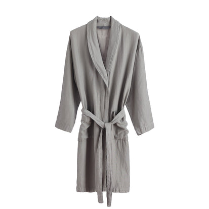 Antero Bathrobe light grey, 55% cotton & 45% linen