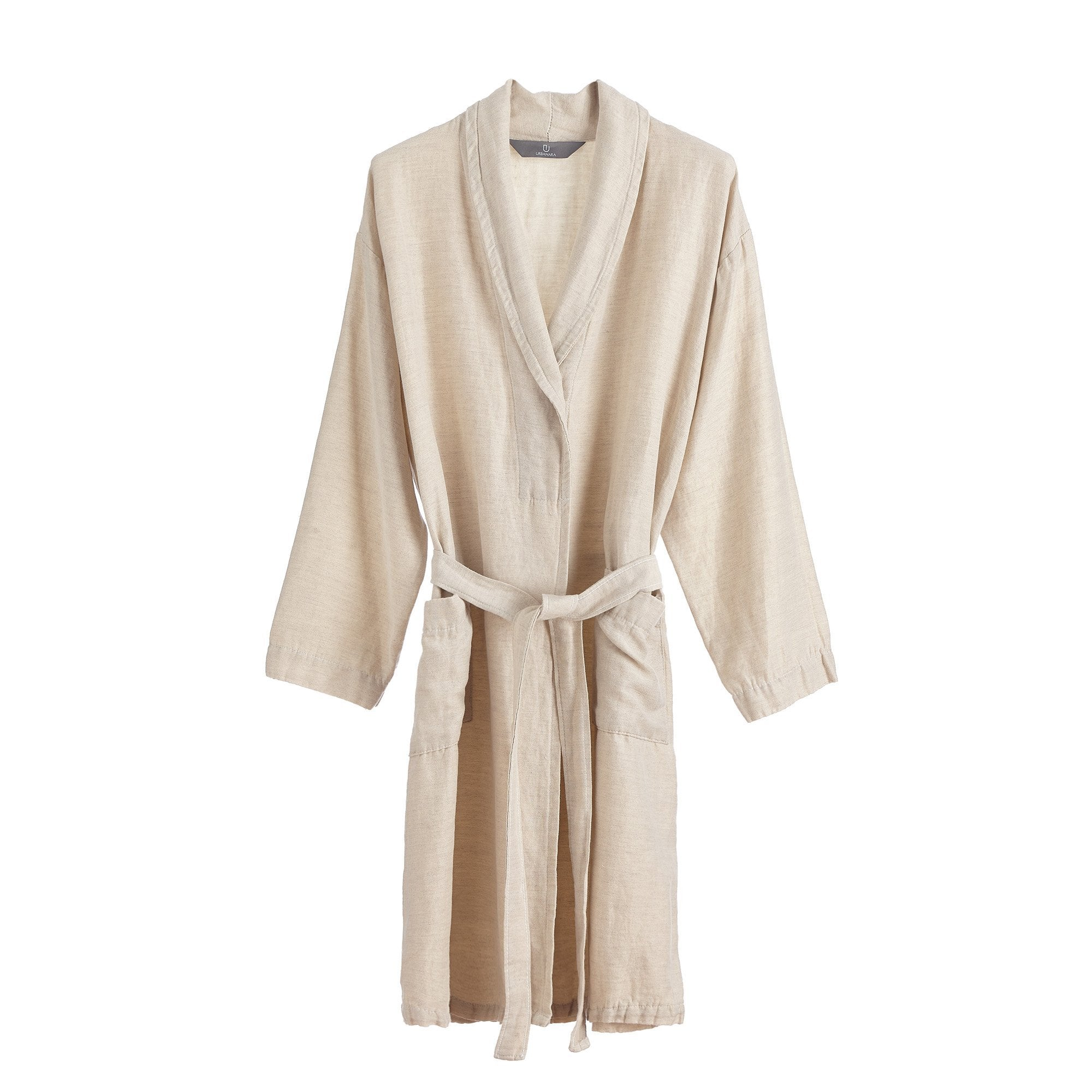 Antero Bathrobe natural, 55% cotton & 45% linen