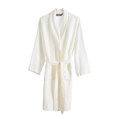 Antero bathrobe, white, 55% cotton & 45% linen