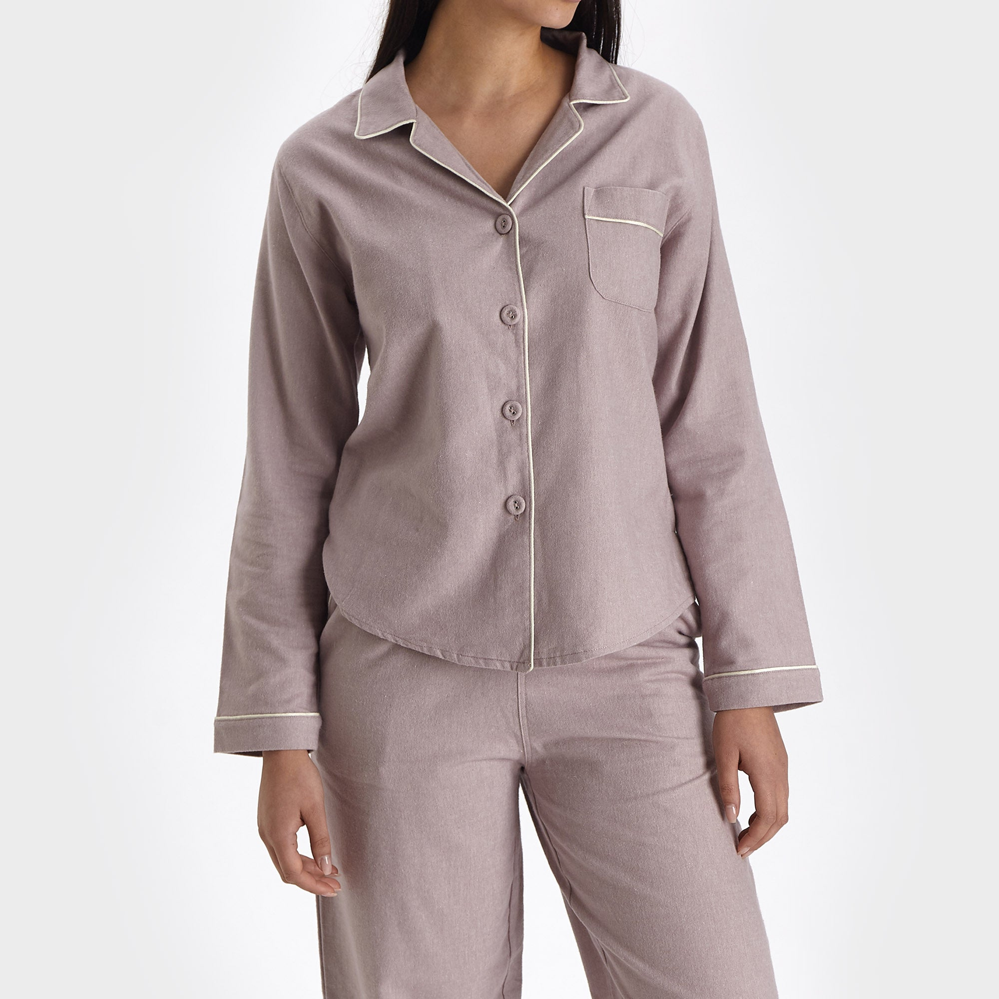 Arove pyjama, light mauve & natural white, 100% organic cotton