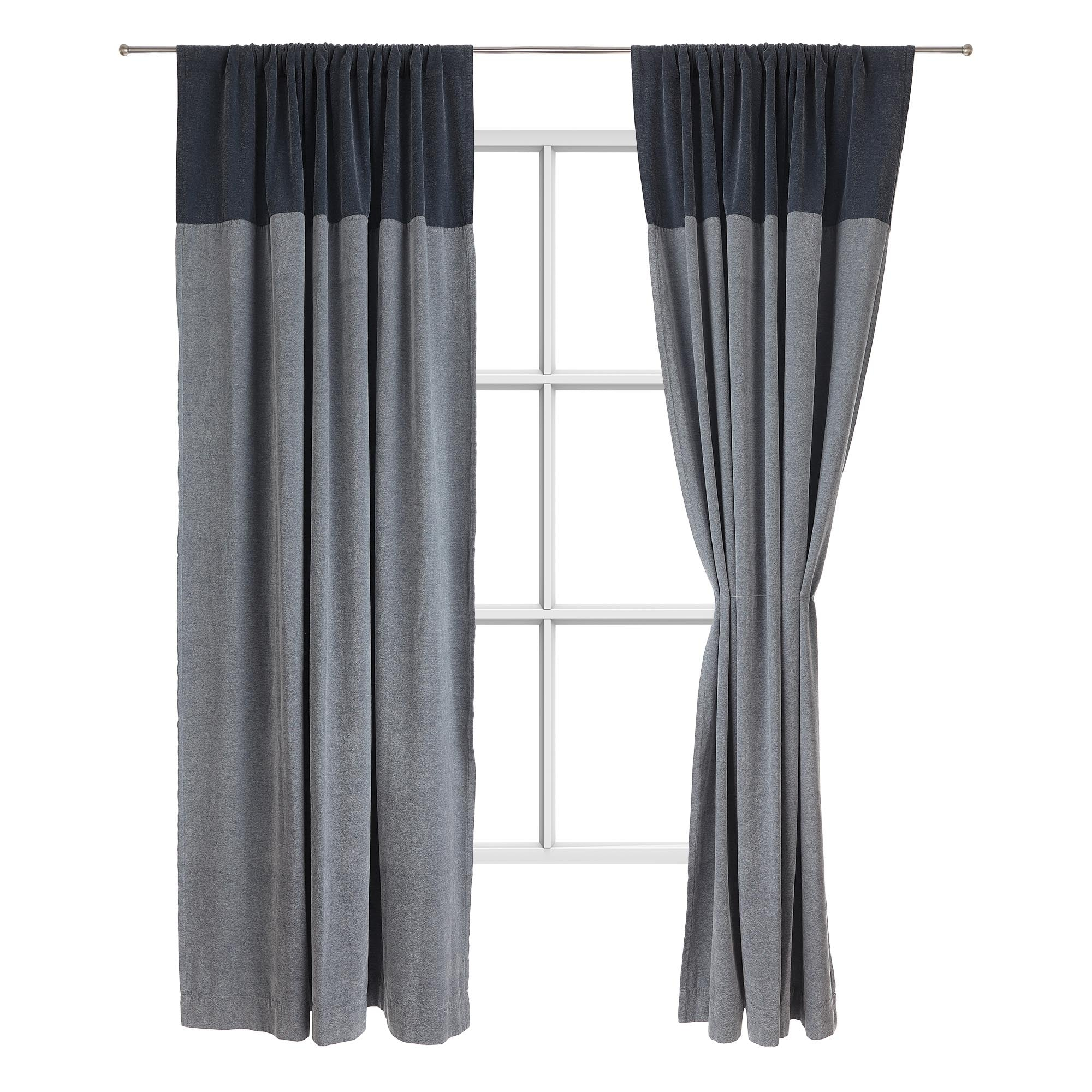 Calcada curtain teal & white, 60% cotton & 40% acrylic