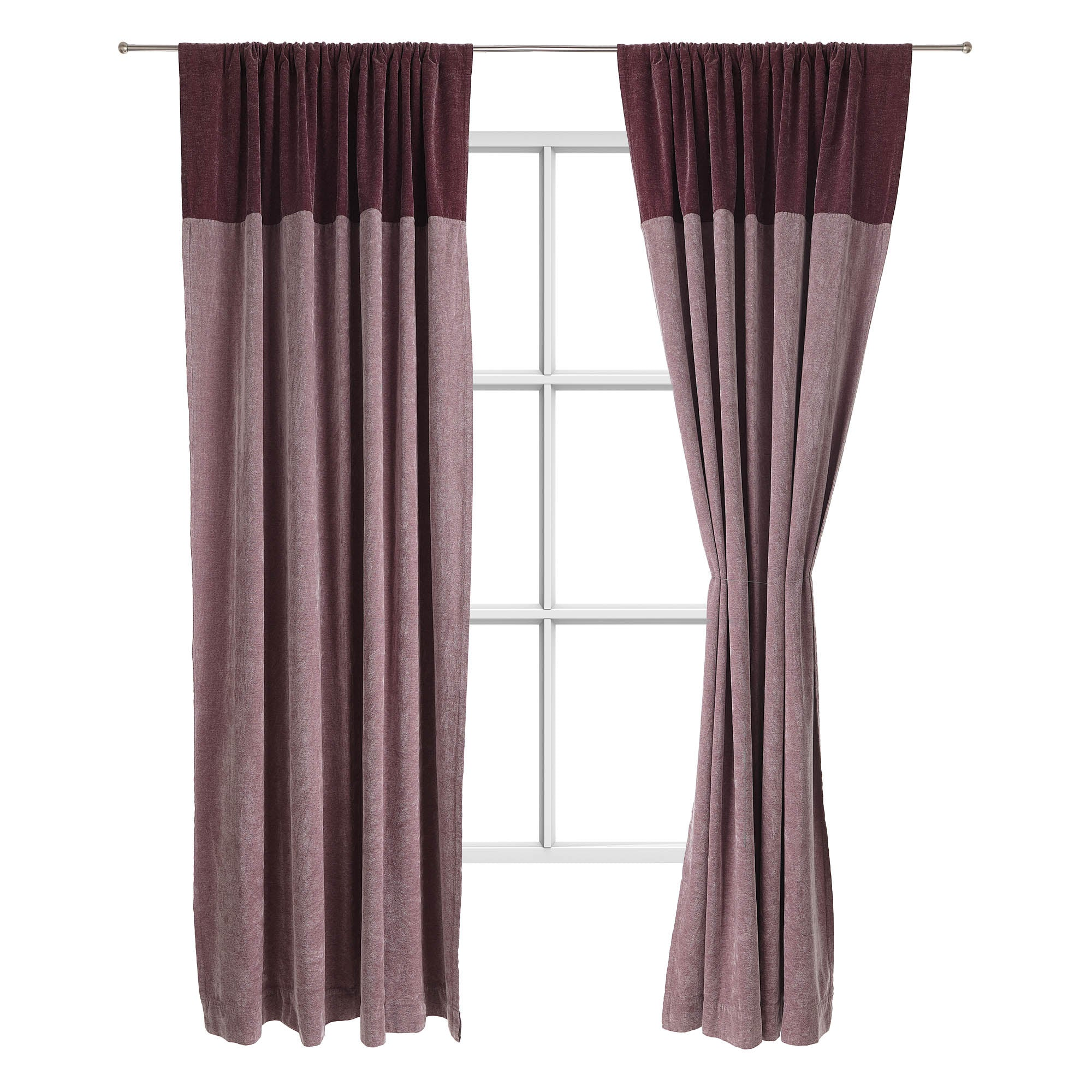 Calcada curtain bordeaux red & white, 60% cotton & 40% acrylic