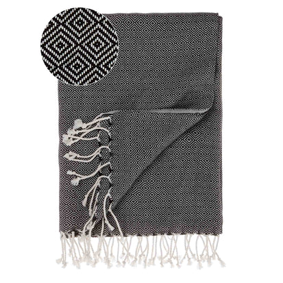 Cesme Hammam Towel black & white, 100% cotton