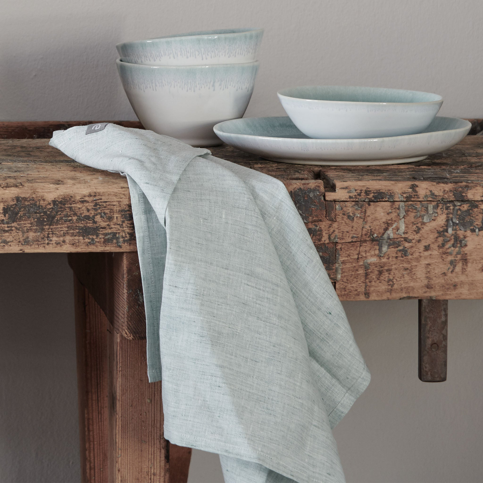 Sameiro Tea Towel in green grey | Home & Living inspiration | URBANARA