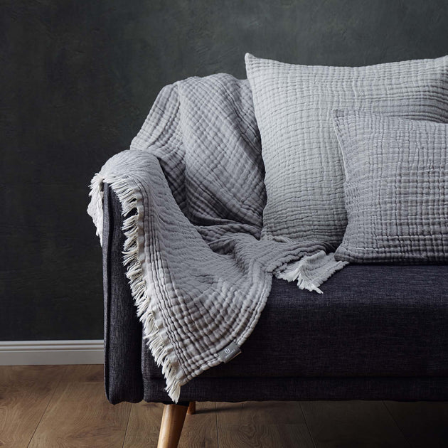 Couco Cotton Blanket in light grey & grey | Home & Living inspiration | URBANARA