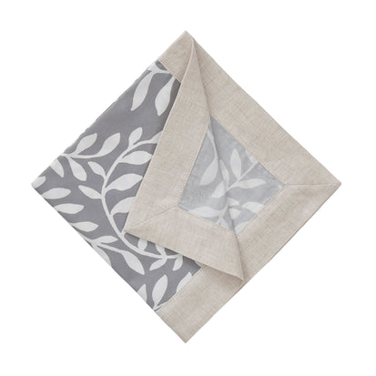 Eixo Napkin Set grey & white & natural, 100% cotton & 100% linen