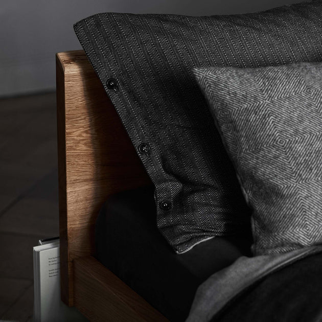 Agrela Flannel Bed Linen in charcoal & light grey | Home & Living inspiration | URBANARA