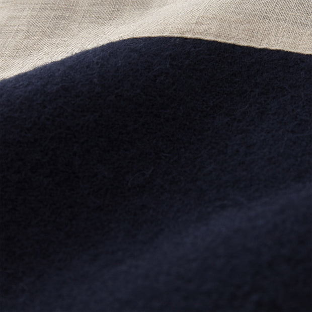 Fyn Wool Blanket dark blue & natural, 100% new wool & 100% linen | High quality homewares