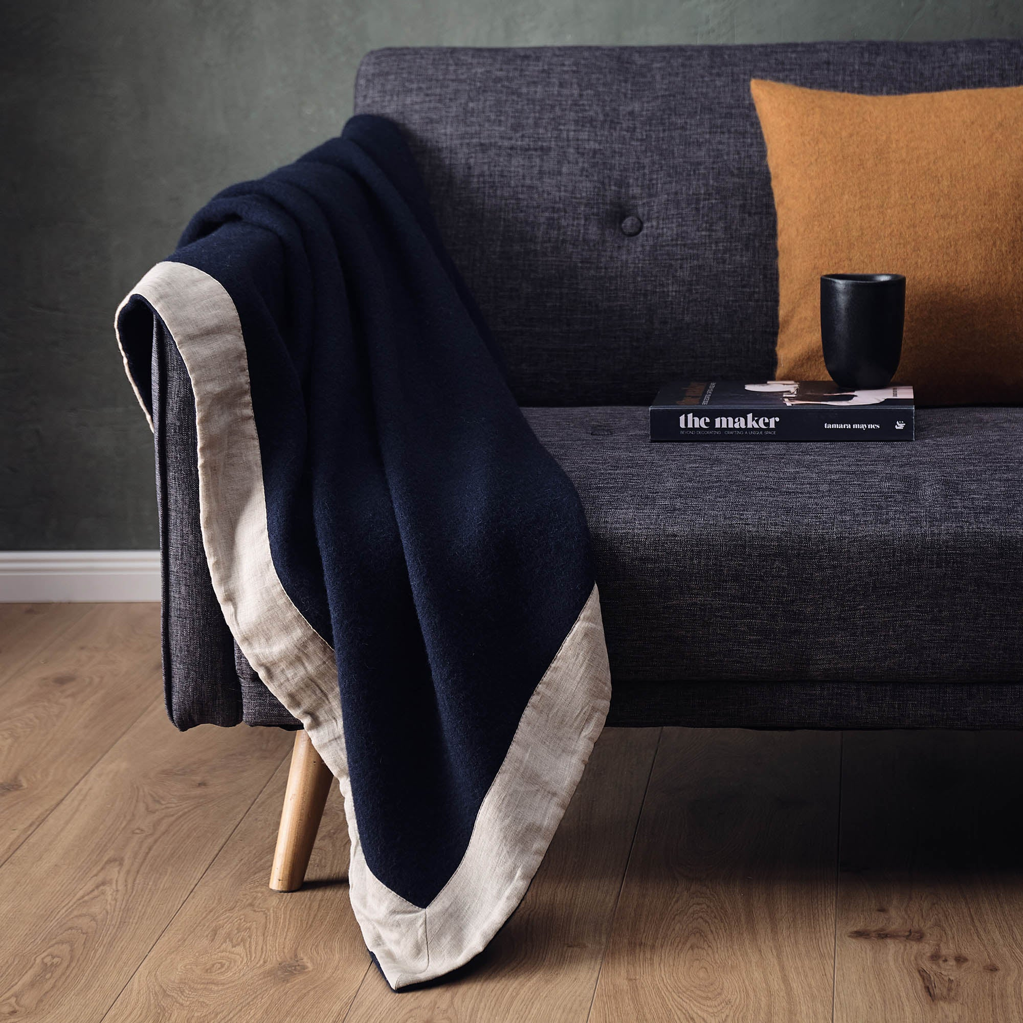 Fyn Wool Blanket in dark blue & natural | Home & Living inspiration | URBANARA