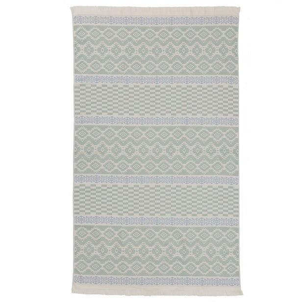 Gilao beach towel, natural white & light grey green & light grey blue, 100% cotton