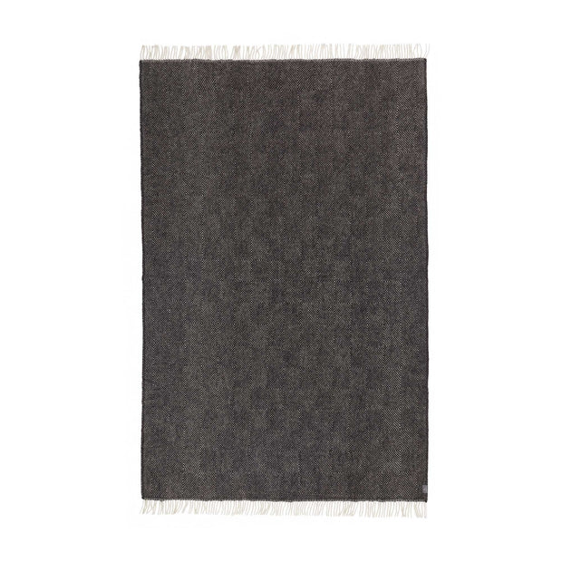 Gotland blanket, black & cream, 100% new wool |High quality homewares