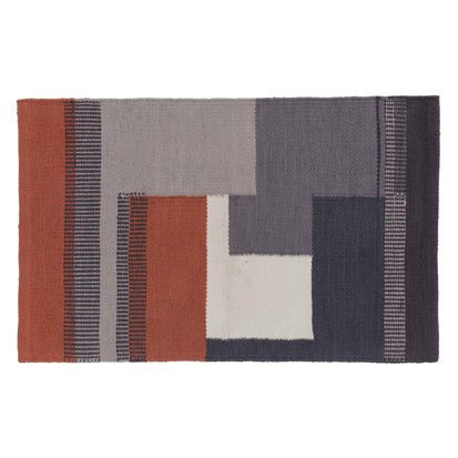 Indari Doormat dark grey blue & pigeon blue & terracotta, 100% pet