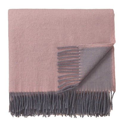 Jonava blanket, powder pink & grey, 100% merino wool