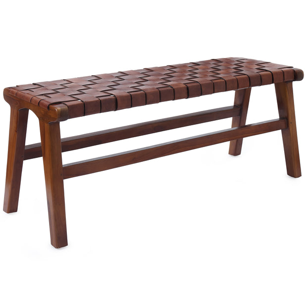 Kamaru bench, cognac, 100% leather & 100% teak wood