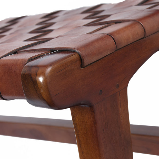 Kamaru bench, cognac, 100% leather & 100% teak wood |High quality homewares