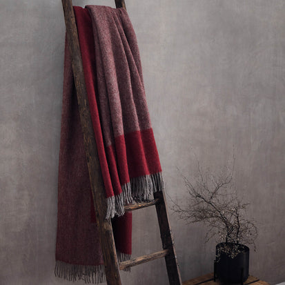 Karby Wool Blanket in red & grey | Home & Living inspiration | URBANARA