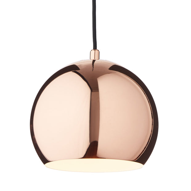 Koge Ball Pendant Lamp copper & black, 100% stainless steel | URBANARA pendant lamps