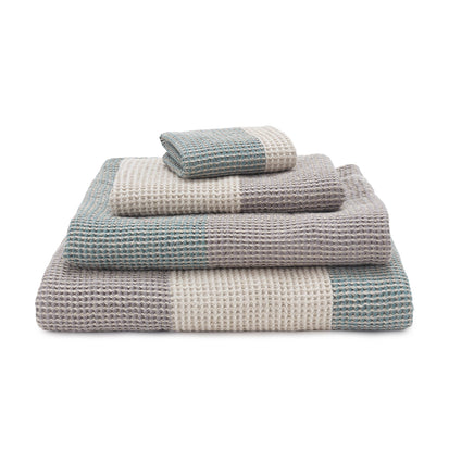 Kotra Towel Collection green grey & natural & grey, 50% linen & 50% cotton