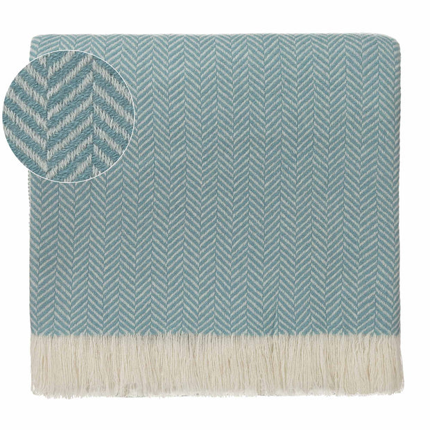 Nerva blanket, mint & cream, 100% cashmere wool