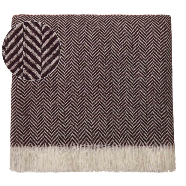 Nerva blanket, bordeaux red & cream, 100% cashmere wool