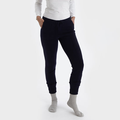 Nora joggers, midnight blue, 50% cashmere wool & 50% wool