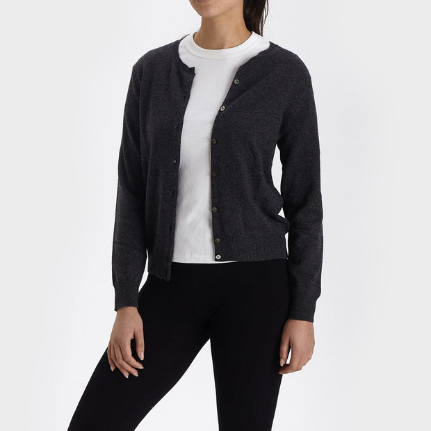 Nora cardigan, charcoal, 50% cashmere wool & 50% wool